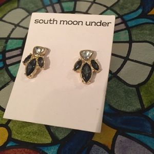 Grey and White South Moon Under Stud Earrings NWT